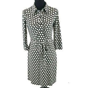 Laundry Knit Shift Dress Geometric Print Belted